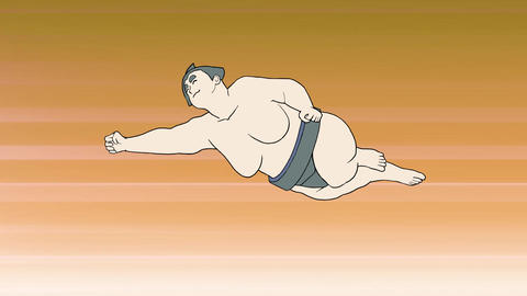 Sumo wrestler dynamic on set Animation