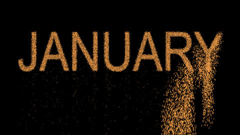 name of the month JANUARY appears from the sand, then crumbles. Alpha channel Animation