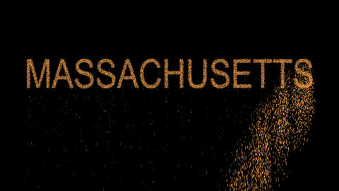 State Name MASSACHUSETTS appears from the sand, then crumbles. Alpha channel Animation