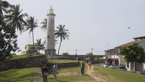 Beautiful lighthouse tower over the historic fortress in Galle. Sri Lanka Footage