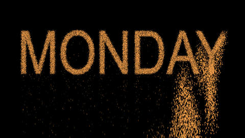 day of the week MONDAY appears from the sand, then crumbles. Alpha channel Animation