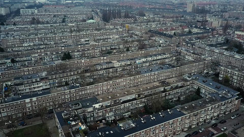 Aerial view of the apartment buildings blocks. Amsterdam, Netherlands Footage
