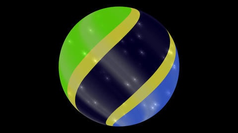 tanzania flag in a round ball rotates. Flicker and shine. Animation loop ภาพวิดีโอ
