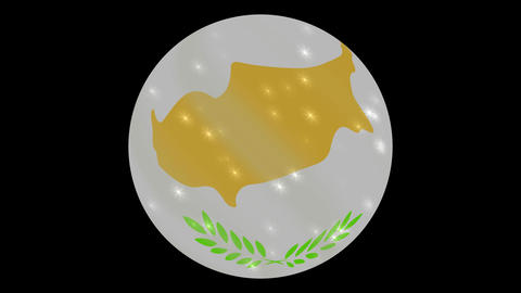 cyprus flag in a round ball rotates. Flicker and shine. Animation loop GIF
