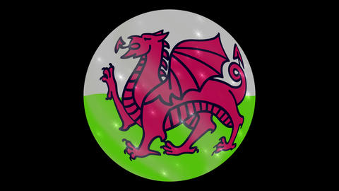 wales flag in a round ball rotates. Flicker and shine. Animation loop Archivo