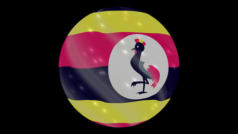 Uganda flag in a round ball rotates. Flicker and shine....影片素材