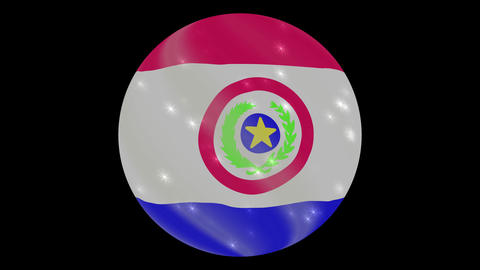 Paraguay flag in a round ball rotates. Flicker and shine. Animation loop Footage