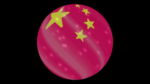 China flag in a round ball rotates. Flicker and shine. Animation loop Footage