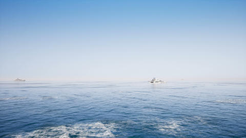 Motor boat on clear sea Archivo