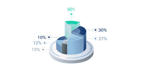 3D Infographic Element with Alpha Channel. Version with numbers 영상물