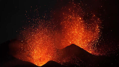 Dual-crater strombolian eruptions on Pico do Fogo volcano, Fogo, Cape Verde Footage