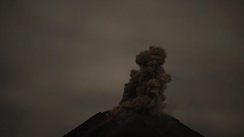 Volcanic lightning in ash clouds during eruption from of Colima volcano in Live Action