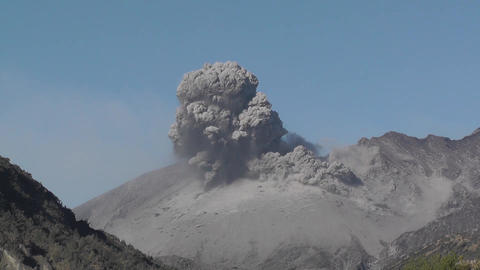 Explosive vulcanian eruption of Showa crater on Sakurajima volcano in Kyushu Footage