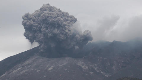 A powerful eruption from crater of Sakurajima volcano in Kyushu, Japan Footage