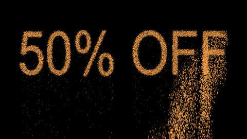 sale tag 50% OFF appears from the sand, then crumbles. Alpha channel Animation
