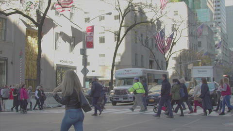 People go through the intersection slow motion NEW YORK Footage