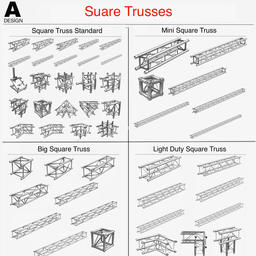 Square Light Trusses (Collection 50 Modular Pieces) 3Dモデル