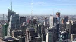 USA New York City Manhattan Top of the Rock view to Hudson River Footage