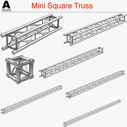 Mini Square Truss (Collection 7 Modular Pieces) 3D