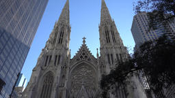 New York City Manhattan St. Patrick's Cathedral in the 5th Avenue Footage