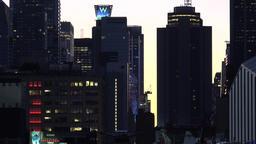 USA New York City Manhattan golden morning sky between skyscrapers Footage