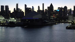 USA New York City Manhattan Hudson River passenger ship piers in dawn Footage
