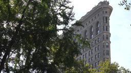 USA New York City Manhattan northern corner of Flatiron Building in 5th Avenue Footage