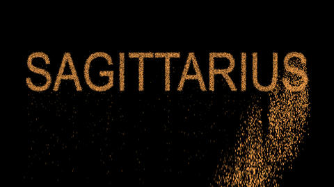 constellation of a SAGITTARIUS appears from the sand, then crumbles. Alpha Animation