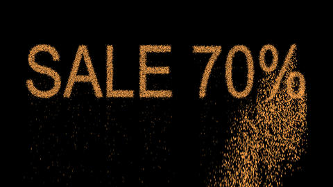 sale tag SALE 70% appears from the sand, then crumbles. Alpha channel Animation