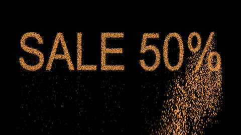 sale tag SALE 50% appears from the sand, then crumbles. Alpha channel Animation