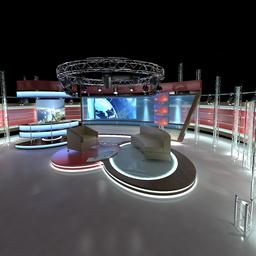 Virtual TV Studio Chat Set 1 3Dモデル