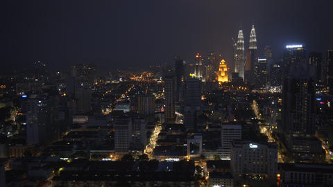 Kuala Lumpur Cityscape at Night. 4k footage Live Action
