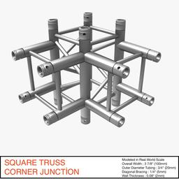 Square Truss Corner Junction 44 3Dモデル