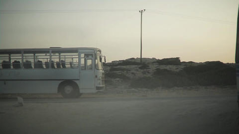 Vintage White Bus On A Countryside Road ( Film Frame ) stock footage