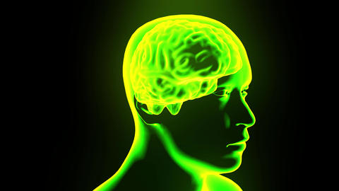 Brain hologram with head rotating 4k Footage
