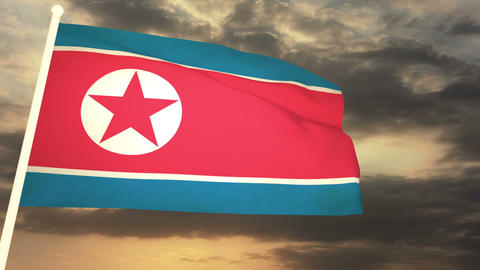 Flag North Korea 03 Animation