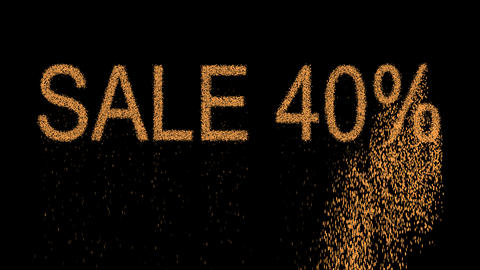 sale tag SALE 40% appears from the sand, then crumbles. Alpha channel Animation