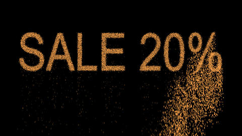 sale tag SALE 20% appears from the sand, then crumbles. Alpha channel Animation