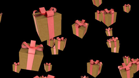 Gifts boses falling on black Intro for your video Footage