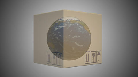 Delivery boxes shine through and see the planet there earth. seamless loop Archivo