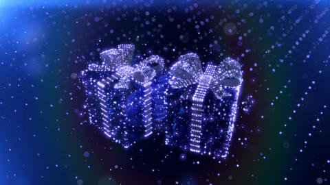 Magic Blue Neon Christmas gifts with bokeh particles background. 3D render Filmmaterial