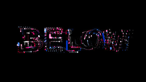 Letters are collected in text BELOW, then scattered into strips. Bright colors Animation