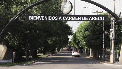 Welcome sign in the city of Carmen de Areco, in Argentina Footage