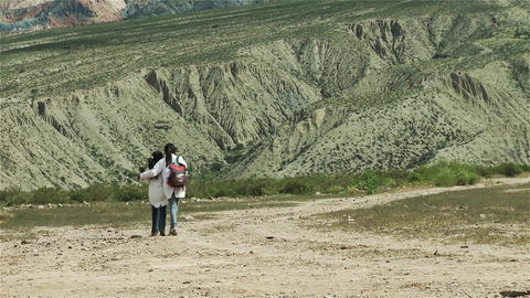 Friendly Students Walking Towards The Mountain, In Argentina Image