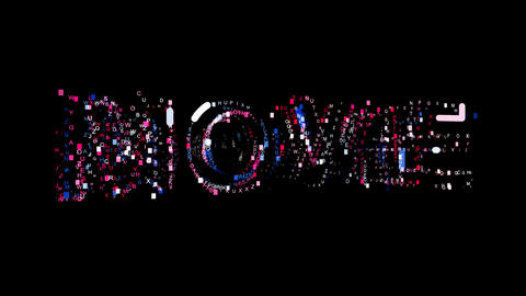 Letters are collected in text MOVIE, then scattered into strips. Bright colors Animation