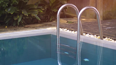 Poolside Access Ladder at Tropical Resort in Hikkaduwa Footage