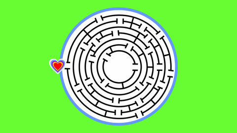 Animated circle maze with heart. Heart comes to middle of maze and begins to Animation