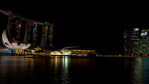 Night Singapore with the hotel Marina Bay Sands and business center Footage