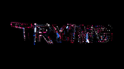 Letters are collected in text TRYING, then scattered into strips. Bright colors Animation