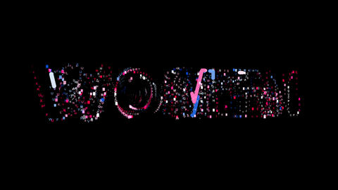 Letters are collected in text WOMEN, then scattered into strips. Bright colors Animation